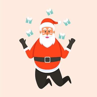 산타 클로스가오고 크리스마스 선물을 가져옵니다