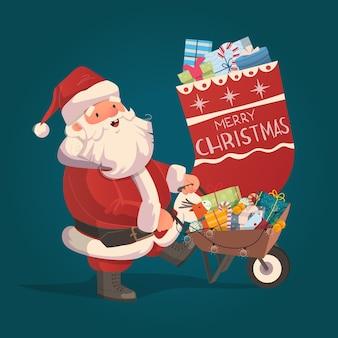 サンタクロースがやって来て、クリスマスイブの手描きのキャラクターイラストでたくさんの贈り物をもたらします