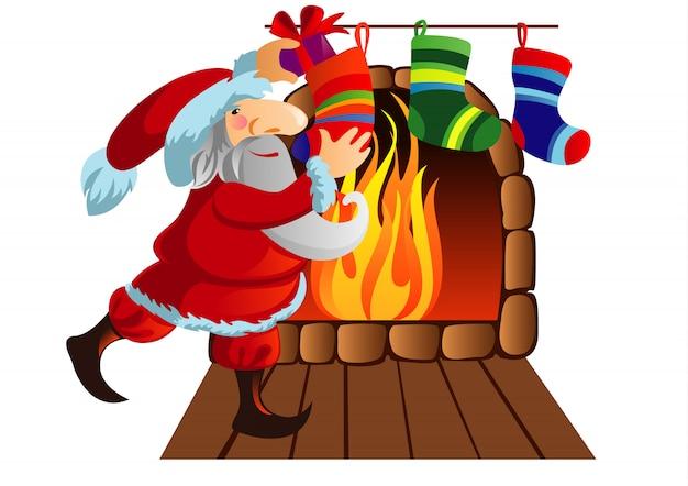 サンタクロースは靴下で分解された贈り物です