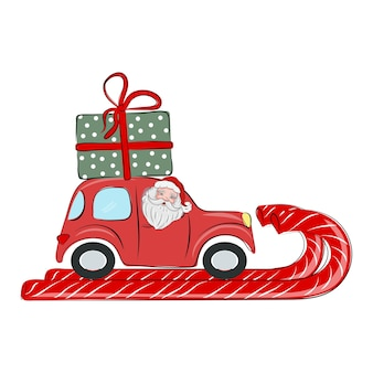 Santa claus is driving a red car with a gift on the roof merry christmas and happy new year