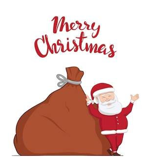Santa claus is leaning on big sack with gifts. hand drawn lettering of merry christmas. winter greeting scene