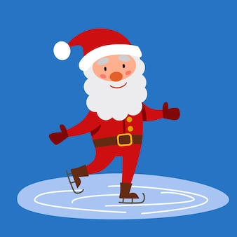 Дед мороз катается на коньках по льду. векторная иллюстрация