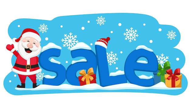 Santa claus is standing next to the text of the sale and waving his hand. christmas banner