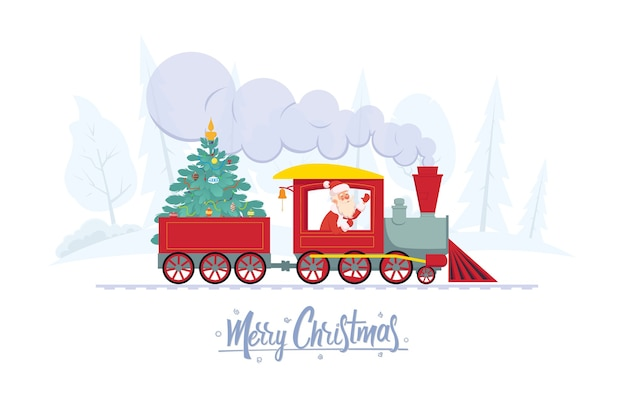 Santa claus is taking a decorated christmas tree to children for a holiday by train
