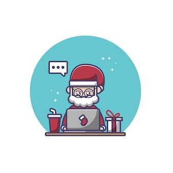 Santa claus is using laptop