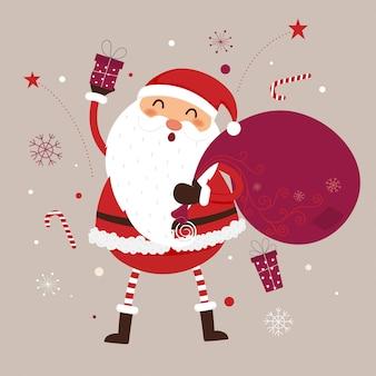 サンタクロースはプレゼントの袋で手を振っています