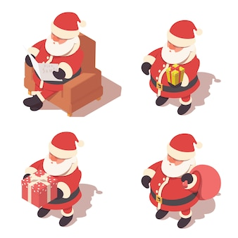 Santa claus isometric icons set