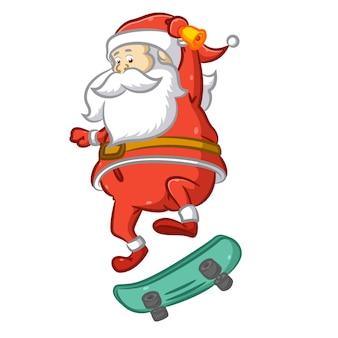 Санта-клаус прыгает со скейтборда для выполнения аттракционов