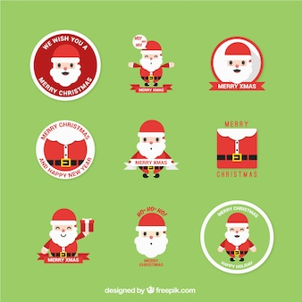 Santa claus labels collection Free Vector