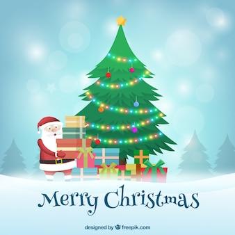 산타 클로스는 크리스마스 트리 아래 선물을 떠나