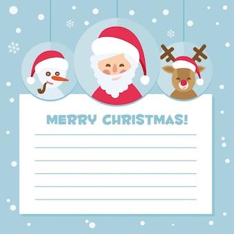 Santa claus letter on blue background