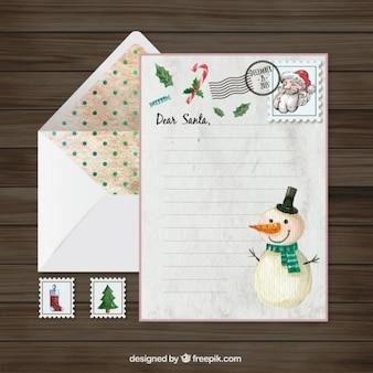 漢塗装雪だるまとサンタクロースの手紙
