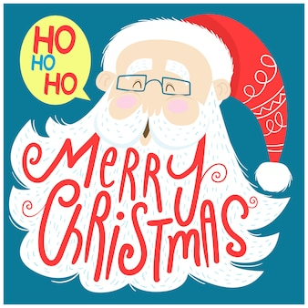 Santa claus and lettering merry christmas on the beard