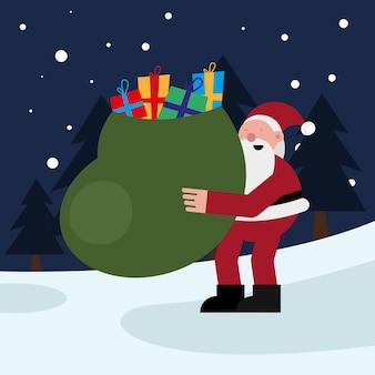 산타 클로스 선물 가방 크리스마스 문자 벡터 일러스트 디자인을 해제