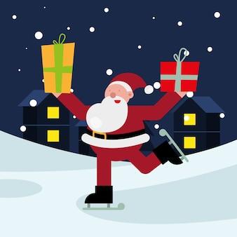 스케이트 크리스마스 문자 벡터 일러스트 레이 션 디자인에 선물을 드는 산타 클로스