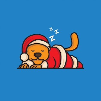 Santa claus lion sleepy illustration