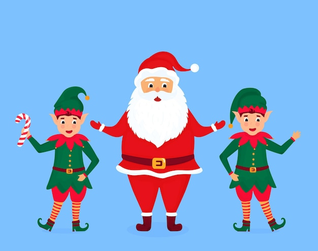 Santa claus and little elves. greeting card for new year and christmas