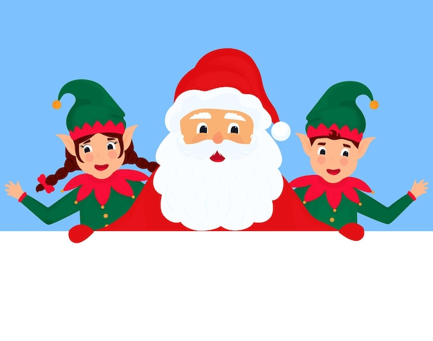Santa claus and little elves. greeting card for new year and christmas.