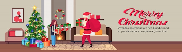 Santa claus in living room in christmas banner