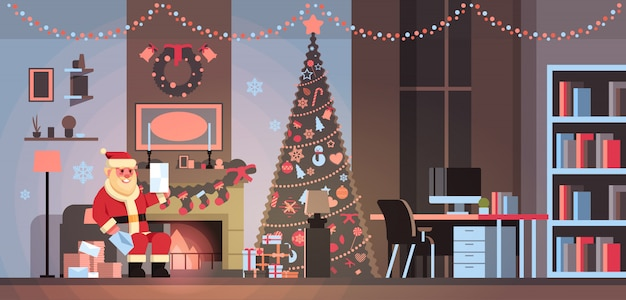 Santa claus in living room decorated for christmas new year holiday sit armchair pine tree fireplace read letter wish list home interior concept flat horizontal