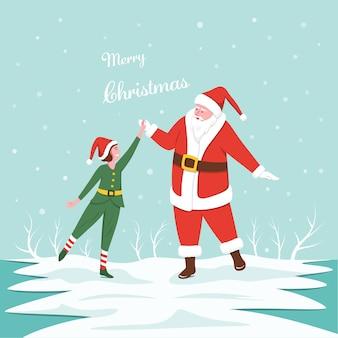 겨울 배경에 어린 소녀와 하이 파이브를 만드는 산타 클로스