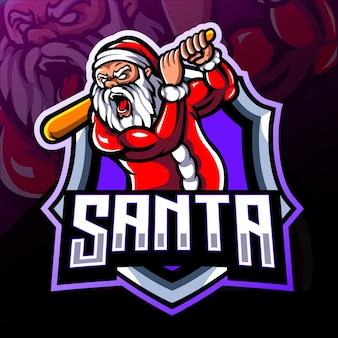 サンタクロースのマスコット。 eスポーツロゴデザイン