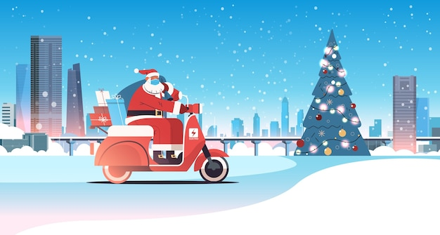 Santa claus in mask driving scooter delivering gifts merry christmas happy new year holidays celebration concept winter cityscape background horizontal vector illustration
