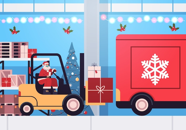 Santa claus in mask forklift truck loading colorful gifts in lorry truck merry christmas happy new year express delivery concept horizontal vector illustration