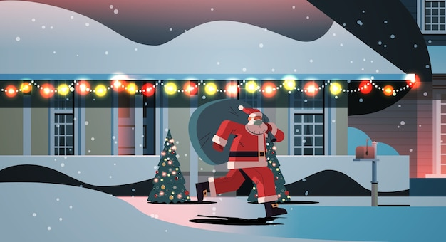 Santa claus in mask running with sack full of gifts happy new year merry christmas holidays celebration concept night winter street with decorated houses full length horizontal vector illustration
