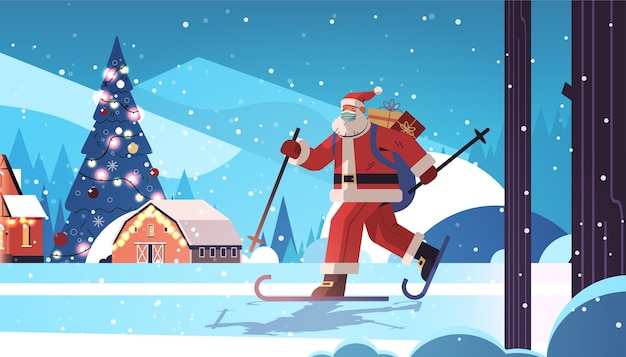 Santa claus in mask skiing with gift boxes happy new year merry christmas holidays celebration concept winter forest landscape background full length horizontal vector illustration