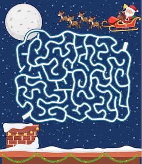 Santa claus maze game tempate