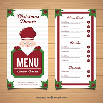 Santa claus menu for merry christmas