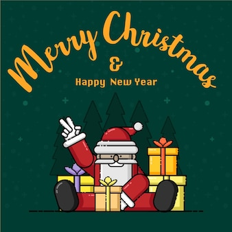 サンタクロースメリークリスマスと新年あけましておめでとうございます