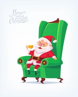 Santa claus merry christmas  cartoon illustration