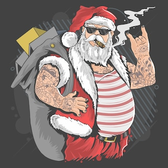 Santa claus merry christmas tattoo and cigarette illustration vector
