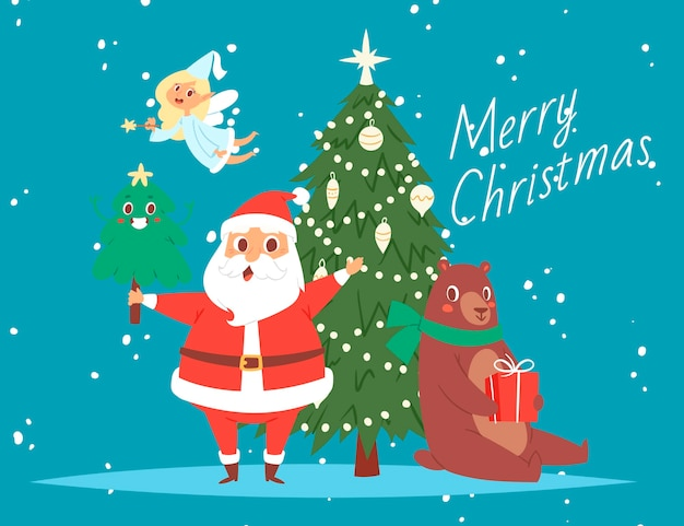 Santa claus and merry christmas tree, bear and angel cartoon greeting card