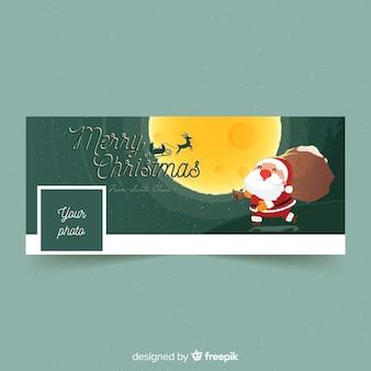 Santa claus moonlight facebook cover