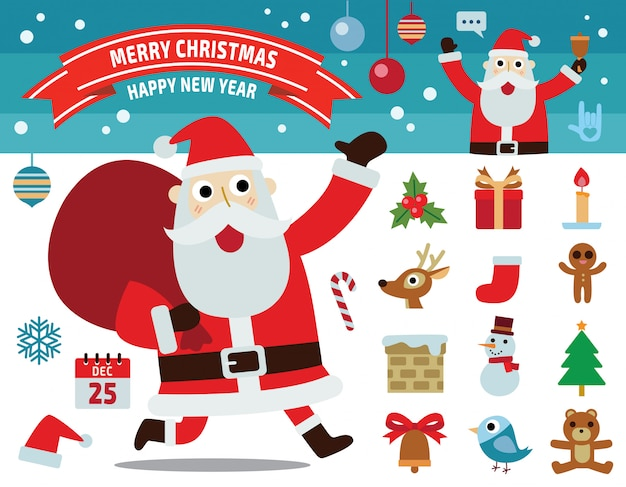 Santa claus motion. collection of merry christmas concept. flat elements design illustration.