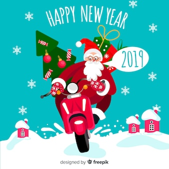 Santa claus motorcycle new year background