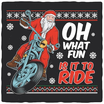 Santa claus on motorcycle