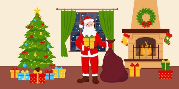 Санта-клаус возле украшенной елки в гостиной с камином и окном.