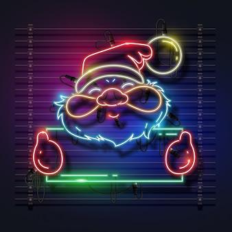 Santa claus neon design.