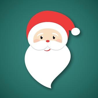 Санта-клаус на зеленом фоне. открытка с новым годом и рождеством. элемент графического дизайна для упаковочной бумаги, принтов, скрапбукинга. праздничный тематический дизайн