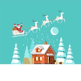 Санта-клаус на санях и его олени, зимний домик рождество, плоский стиль иллюстрации.