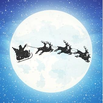 Санта-клаус на санях, полных подарков, и его олени с луной в небе. с новым годом украшение. с рождеством христовым. празднование нового года и рождества. иллюстрация