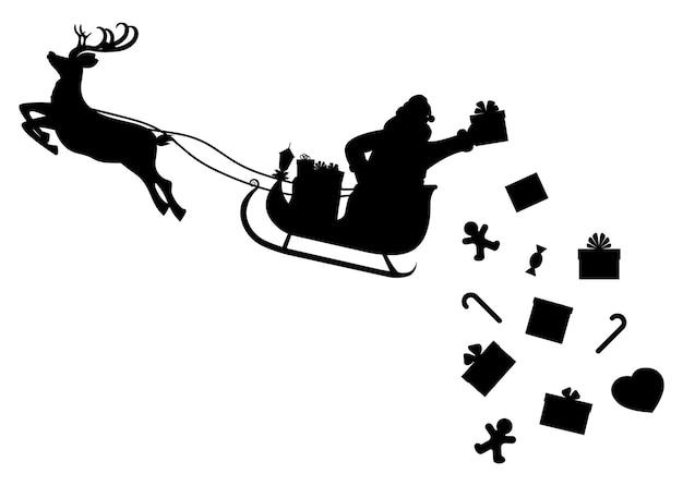 Санта-клаус на санях, полных подарков и оленей
