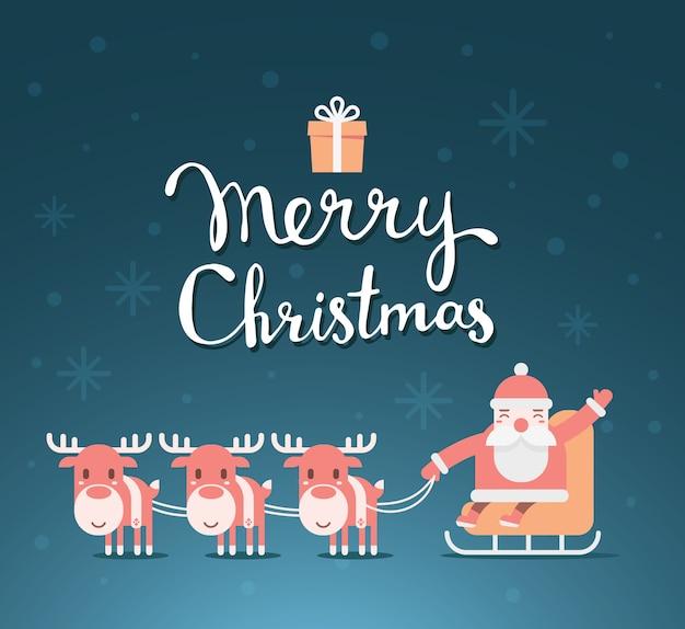 テキストメリークリスマスとそりのサンタクロース