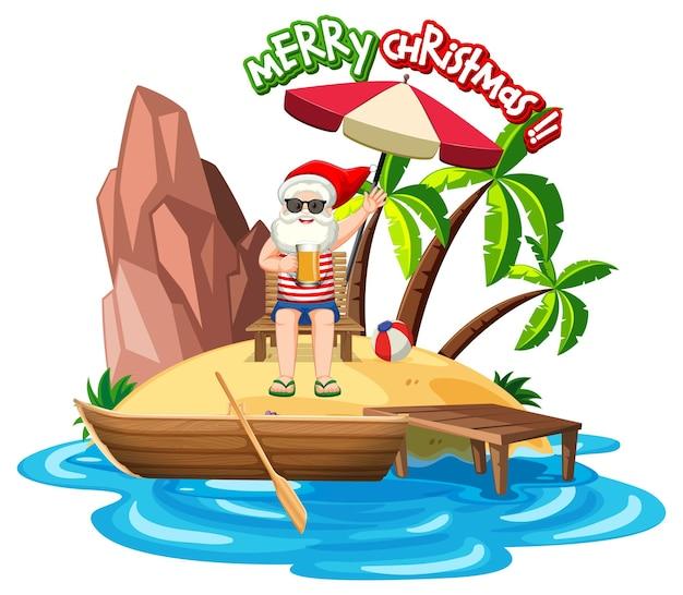 여름 크리스마스 해변 섬에 산타 클로스