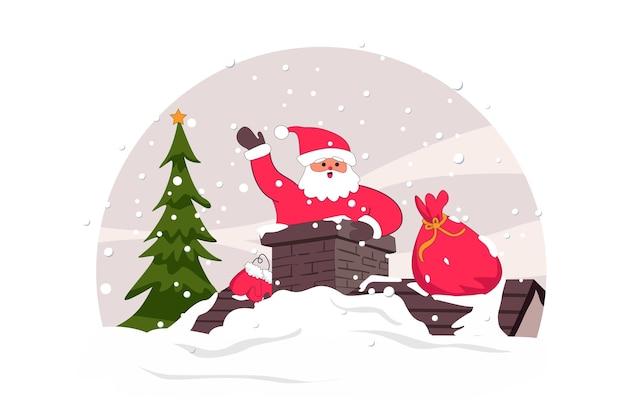 굴뚝 메리 크리스마스 벡터 평면 그림에 산타 클로스