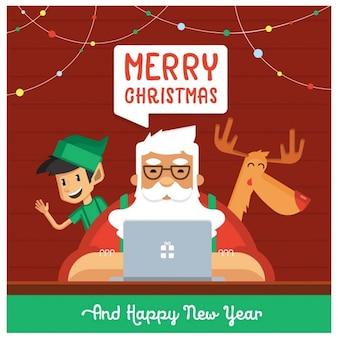 Санта-клаус с эльф и олени